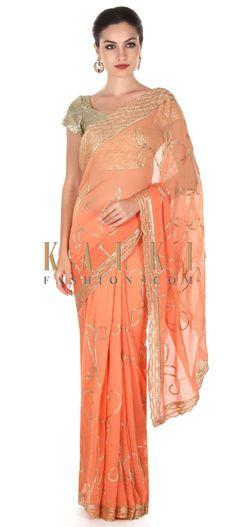 Buy this Peach and orange shaded saree in zari and kardana only on Kalki