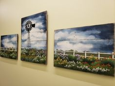 (1) Windmill 3 Piece Large painting, farmhouse large country wall decor, f – The White Birch Studio