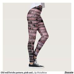 Old wall bricks pattern, pink and black leggings