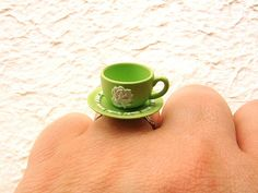 Kawaii Cute Japanese Ring Green Teacup And Saucer. $10.00, via Etsy.