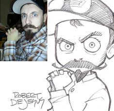 Creative Artist Robert DeJesus Turns Strangers' Photographs Into Anime Inspired Sketches Funny Illustration, Illustration Sketches, Cartoon Sketches, Drawing Sketches, Robert Dejesus, Photo To Cartoon, Portrait Cartoon, Funny Drawings, Anime Sketch