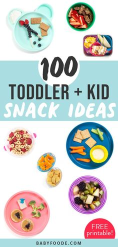 100 Toddler + Kid Snack Ideas that will help you keep snack time fun and fresh! Includes fresh, homemade and store-bought foods. Plus - FREE printable list! Picky Toddler Meals, Toddler Lunches, Kids Meals, Toddler Dinners, Toddler Food, Healthy Store Bought Snacks, Baby Food Recipes, Kitchen Recipes, Toddler Recipes