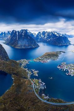 The beautiful view from Reinebringen, Lofoten in Norway ?The beautiful view from Reinebringen, Lofoten in Norway ? Oh The Places You'll Go, Places To Travel, Places To Visit, Travel Destinations, Wonderful Places, Beautiful Places, Norway Travel, Denmark Travel, Photos Voyages