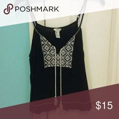Embroidered Tassel Boho Tank Like new, black tank with cream stitched details. Forever 21 Tops Tank Tops