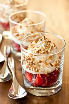 white chocolate mousse with strawberries and pretzels. these are amazing!