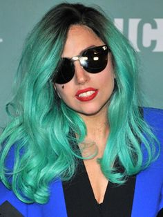 Lady Gaga Blue Hairstyle with Black on Roots