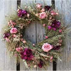 Rustic Rose wreath   Dried floral wreath with winterbud and fern. Accented with wild roses, hydrangea, latifolia and freeze dried roses. $72.95