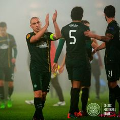 FC Astra 1-1 Celtic 6th November. Scott Brown applauds the fans at FT.