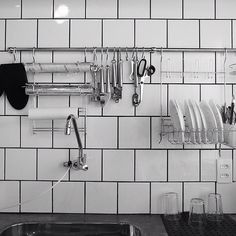 white, kitchen, tile, grout, via desire to inspire - We DesignHostel