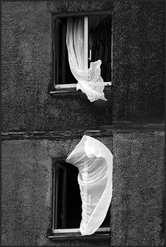 Black & White Photography Inspiration : Curtains blowing in the wind. Atmospheric B & W shot. Black White Photos, Black And White Photography, Monochrome Photography, Street Photography, Art Photography, Passion Photography, Blowin' In The Wind, Photocollage, Light And Shadow