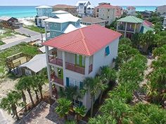 If you have a large family or are planning a reunion at the beach then this six bedroom vacation home can serve all of your needs with its ample space. In fact up to eighteen guests can enjoy a fun staying here in this home that comprises almost 3,000 square feet, is flanked by towering palms and rises three stories tall with balconies that offer stunning views of the glistening gulf. The sugar sand beach is only fifty yards away with convenient access. Within seconds you may find yourself…