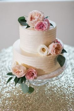 Floral Wedding Cakes - Vintage Blush and Gold Arizona Wedding Blush Wedding Cakes, Small Wedding Cakes, Buttercream Wedding Cake, Floral Wedding Cakes, Wedding Cakes With Flowers, Floral Cake, Wedding Cake Designs, Cake With Flowers, 2 Tier Wedding Cakes