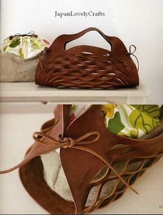 Cloth and leather bag - japanese sewing book - free patterns