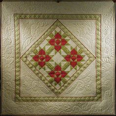 I love the diamond borders - Enough Feathers to Clothe a Christmas Goose' - KimmyQuilt.com
