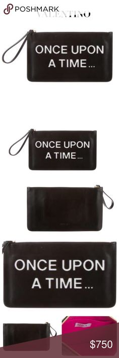 """RED VALENTINO """"ONCE UPON A TIME"""" LEATHER CLUTCH Red Valentino black leather clutch with gold-tone hardware, accompanying wrist strap, white leather cutout inserts that state: """"ONCE UPON A TIME"""" a single pocket at interior wall and features zip closure at top. Material: Black Leather. (May have slight creases due to nature of leather, but none that I detected when taking pics) Lining: Magenta. Approx Measurements: Height 7.25"""", Width 12.5"""", Depth 0.75"""". SOLD OUT! Condition: Excellent. Never…"""