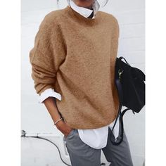 Jinguio Teen Couples Turn-down Collar Sweater Casual Long Sleeve Solid Loose Pullover Boat Neck Pullover Shirt, Sweater Shirt, Loose Sweater, Long Sleeve Sweater, Casual Tops, Casual Shirts, Work Casual, Estilo Fashion, Shirts & Tops