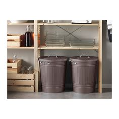 Comes in White too - one could be for recycling and the other for trash - KNODD Bin with lid - gray, 11 gallon - IKEA