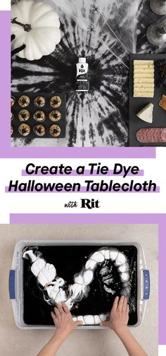 Create a Tie Dye Halloween Tablecloth - Diy Baby Halloween Birthday, Halloween House, Halloween 2019, Holidays Halloween, Halloween Treats, Fall Halloween, Happy Halloween, Halloween Decorations, Halloween Stuff