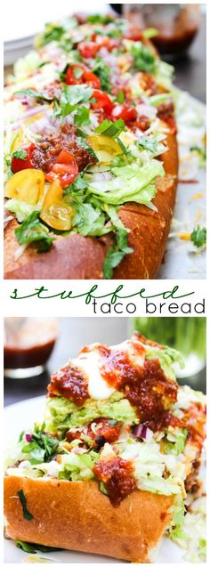 Stuffed Taco Bread & Kitchen Hack: Easy Guacamole: Your favorite taco ingredients stuffed into a warm loaf of bread. Lunch Recipes, Easy Dinner Recipes, Mexican Food Recipes, Beef Recipes, Easy Meals, Cooking Recipes, Mexican Dishes, Easy Recipes, Recipes