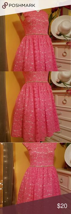 Unique Pink Lace Girls Dress!😌💖 Very lovely, very pretty! Has a light gray blemish near bottom hem..and around waist area but as you can see barely noticable. Just disclosing in case you are a very detailed person. Does not take away the beauty in this lace dress. I think the dress is very beautiful still. Dress says size 14 but I would say fits a size 10-11 best. Dress is Unique shade of pink as seen in pictures.SOLD AS IS. ☺ Dresses Formal
