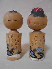 Pair of Japanese Vintage Wooden Nodder Kokeshi Doll 10cm / Old Scenery w/ Poem