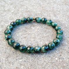 Deep faceted moss agate bracelet #green #darkgreen #bracelet