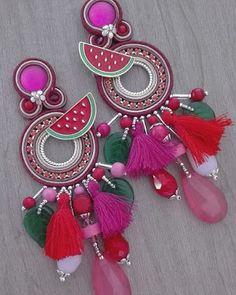 Laboratorium w Adel Long Tassel Earrings, Tassel Jewelry, Fringe Earrings, Diamond Earrings, Jewlery, Soutache Bracelet, Soutache Jewelry, Earrings Handmade, Handmade Jewelry