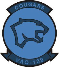 "Electronic Attack Squadron #139 (VAQ-139), also known as the ""Cougars"", is an EA-18G Growler squadron of the United States Navy. They specialize in electronic attack and are currently stationed at Naval Air Station Whidbey Island, Washington."