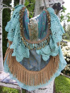 Bohemian Gypsy Bag Hippie Aqua Shabby Magnolia by Fairybelles--I just finished this