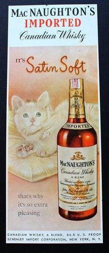 1950 Macnaughton's Canadian Whiskey Satin Soft White Kitten Vintage Ad   eBay