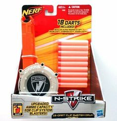 NERF N-Strike 18-Dart Clip System Drum by Hasbro. $39.95. Make sure you have enough ammo for any engagement with upgraded ammo capacity.  This 18-dart drum keeps you fully loaded and ready for even the most intense action.  Works with Alpha Trooper CS-18, Recon CS-6, Stampede ECS, and Raider CS-6