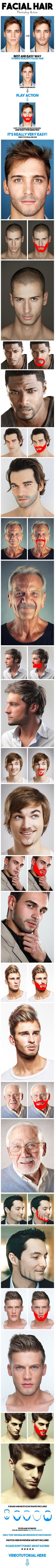 Facial Hair Photoshop Action - Best and easy way to make realistic facial hair in Photoshop. Get this PSD atn for only $6 !