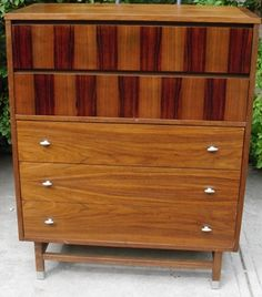 Stanley Upright Chest of Drawers Mid Century Modern