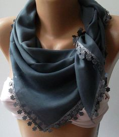 Grey  Shawl with Lace  Turkish Shawl  Anatolians Scarf  by womann, $15.90