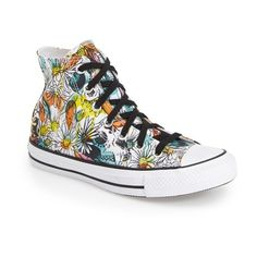 Converse Chuck Taylor All Star 'Floral' High Top Sneaker (4,010 INR) ❤ liked on Polyvore featuring shoes, sneakers, lace up sneakers, floral print sneakers, converse shoes, lace up high top sneakers and floral print shoes