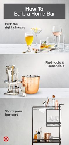 Find everything you need to set up a home bar or bar cart, from glasses & wine racks to cocktail recipe essentials. Diy Home Bar, Home Bar Decor, Bar Cart Decor, Diy Bar, Bars For Home, Home Design, Building A Home Bar, Bar Drinks, Beverages