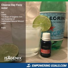 Looking for a refreshing drink to enjoy on your Isagenix cleanse day? Try this fizzy water with lime juice and Isagenix essential oil content.