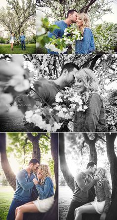 Couples engagement photography outdoors Flowering trees