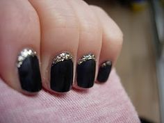 black and gold glitter half moon manicure