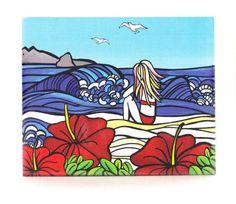 Sarah C Art Blocks : Girl and Surf – www.themotelshop.co.nz Sarah C, New Zealand Art, Surfing, Kids Rugs, Art Prints, Gifts, Color, Beautiful, Design