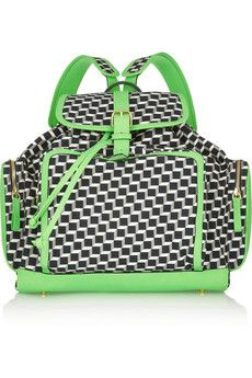 Pierre Hardy Neon leather-trimmed printed cotton-canvas backpack | NET-A-PORTER
