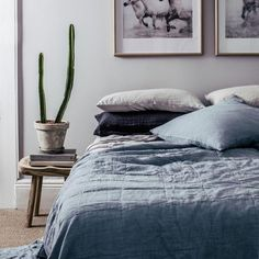 BEDCOVER | quilted chambray linen by cultiver