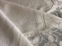 STUNNING ANTIQUE IRISH LINEN TABLECLOTH~ HAND EMBROIDERED WHITEWORK/DEEP LACE