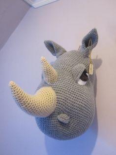 "Crochet Wool Mounted Stuffed Trophy Head ""WIGGINS"" Grey Rhino Wall Hanging Decorative Art"