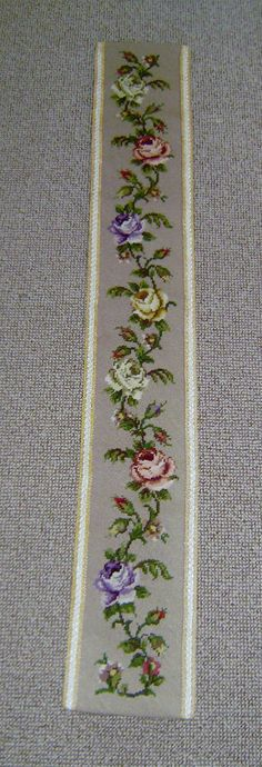 vintage two needle point bell pull tapestry embroidery wall hanging quality