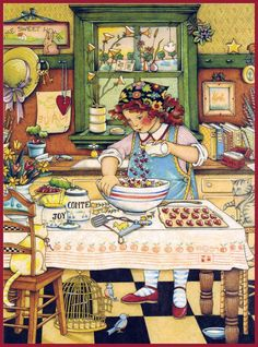 art, illustration, interior, figure, woman, 3/4 view, holding, food, kitchen. //  Mary Engelbreit - The joy of sharing with children.