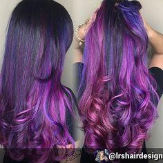 By @lrshairdesign ALL THE PURPLES #modernsalon #purplehair @modernsalon