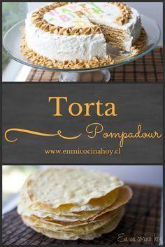Torta Pompadour Sweets Cake, Cookie Desserts, Just Desserts, Cupcake Cakes, Torta Pompadour, Sweet Recipes, Cake Recipes, Chilean Recipes, Chilean Food