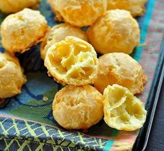Cheese Gougères - French cuisine, a baked savory choux pastry made of choux dough mixed with cheese.
