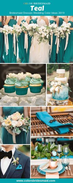 Teal Bridesmaid Dresses Teal bridesmaid dresses, great for weddings with white bridal gown, bouquets, and wedding cakes and invites in teal, white and gold for 2019 weddings. Sea Green Weddings, Turquoise Weddings, Summer Weddings, Gold Wedding Gowns, Wedding Veils, Teal Wedding Cakes, Teal Gold Wedding, Wedding Hair, Teal Cake